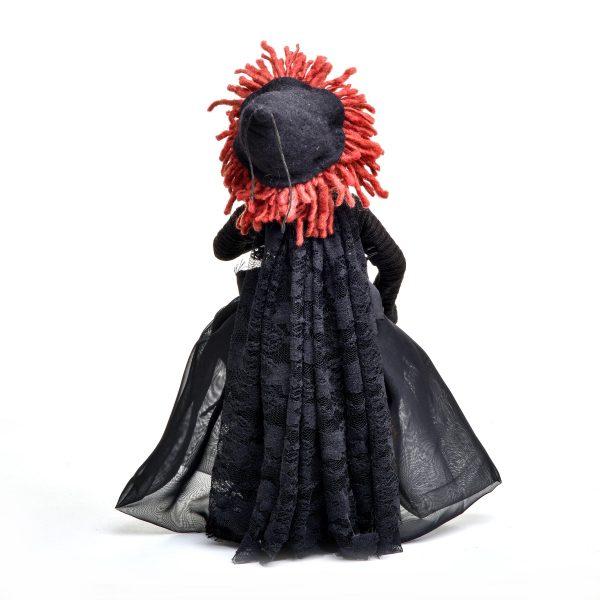 back view of handmade witch doll by Charlie Patricolo. Handmade fiber doll, halloween decor, southern craft, campbell folk school doll maker, handmade doll maker