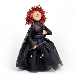 handmade witch, hand stitched art doll by charlie patricolo,