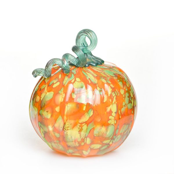 orange and green hand blown glass pumpkin, handmade glass pumpkin, halloween decor, glass blowing asheville