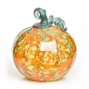 glass blowing asheville, handmade glass green and orange pumpkin, michael hatch