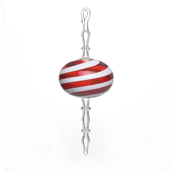 fancy handmade glass red and white christmas ornament, handmade holiday decor,