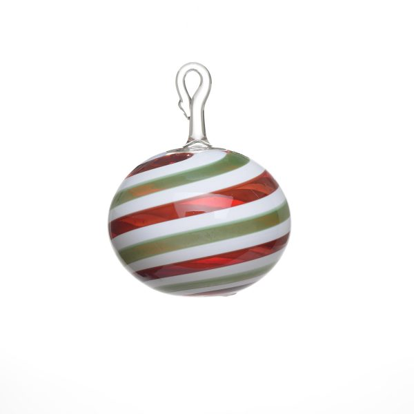 small handmade glass ornament, red gree and white small glass ball, nc lamp working, nc glass artist, nc glass blowing,