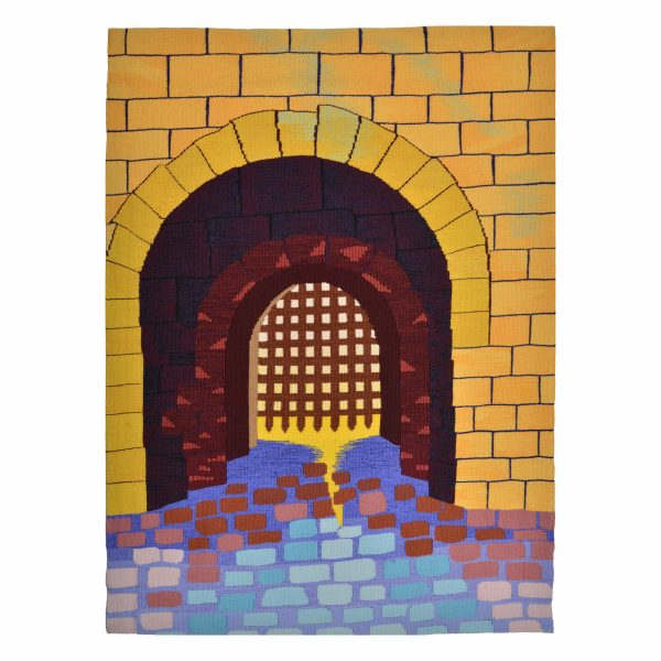 handmade woven fiber wall hanging, bright yellow gate image, guild new member show