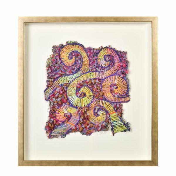 fern fronds fiber, fiber artist, new member show, irregular framed fiber piece