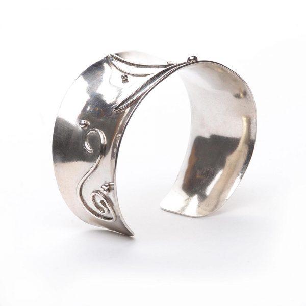 silver leaf cuff bracelet, argentium silver handmade jewelry, nc jeweler