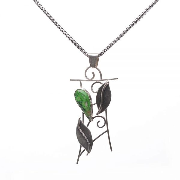 green stone and leaf necklace, handmade argentium silver jewelry