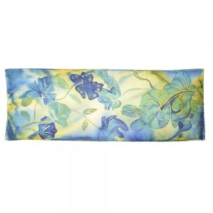 handmade batiq scarf, blue and yellow floral scarf, water scarf, southern fiber artist