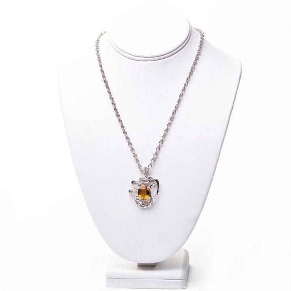 citrine handmade necklace with silver chain