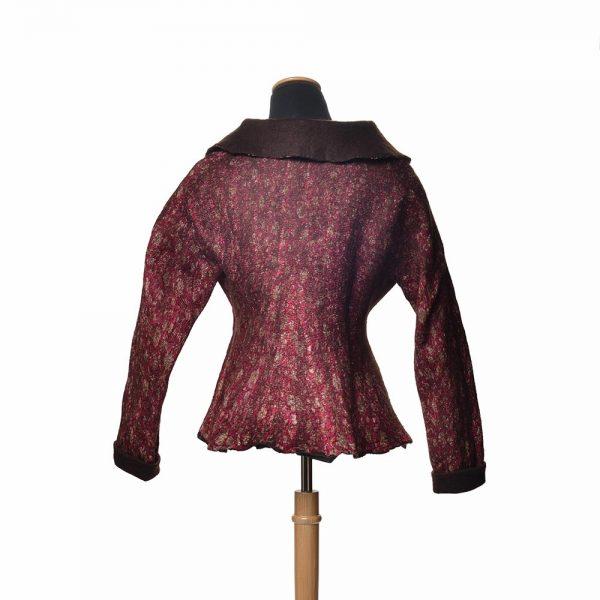 back view of handmade coat with handmade fabric