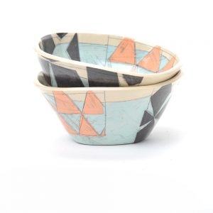 nc potter, light blue wheel thrown bowls with black and orange, handmade ceramics