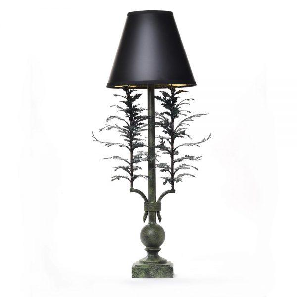 handmade metal lamp made to look like cedar, mountain home lamp