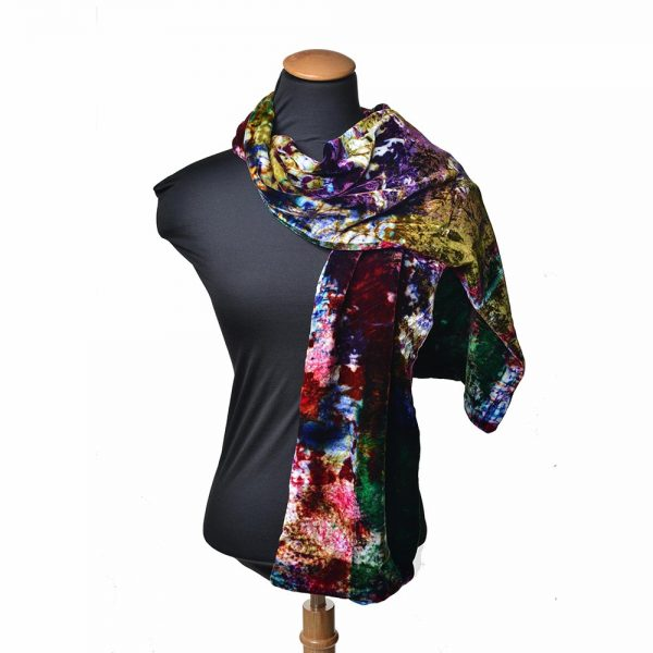 hand painted velvet scarf, tie dyed scarf, fiber artist