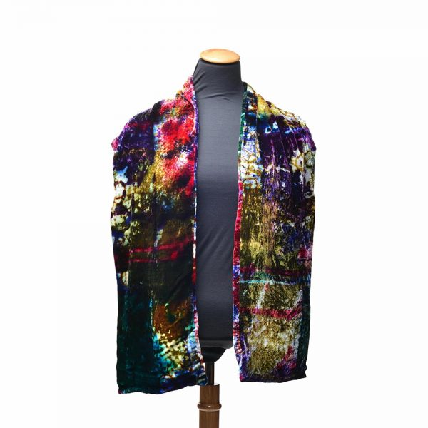 hand painted velvet scarf, shcg, southern highland craft guild, nc fiber artist, asheville quilt show