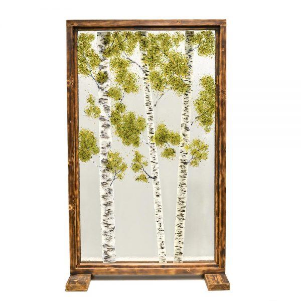 large glass panel, room divider, handmade glass landscape