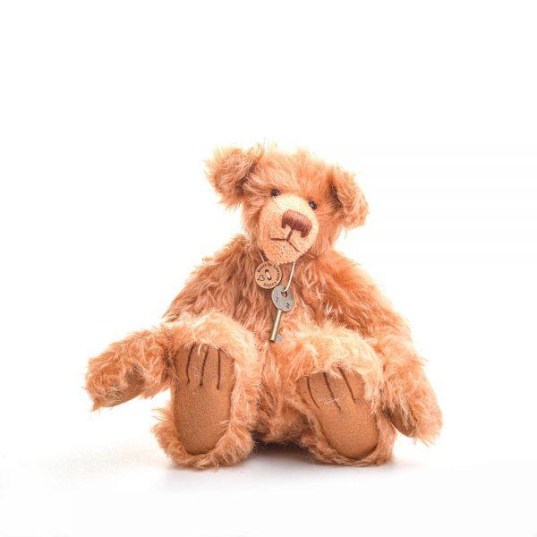 red mohair teddy bear, handmade kids bear, collectible bear, traditional crafts, nc fiber artist, felt artist, nc crafts, folk art center