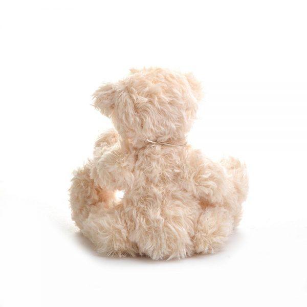 back view blond handmade teddy bear, medium sized stuffed animal, family heirloom, stuffed bear collectible, nc fiber artist