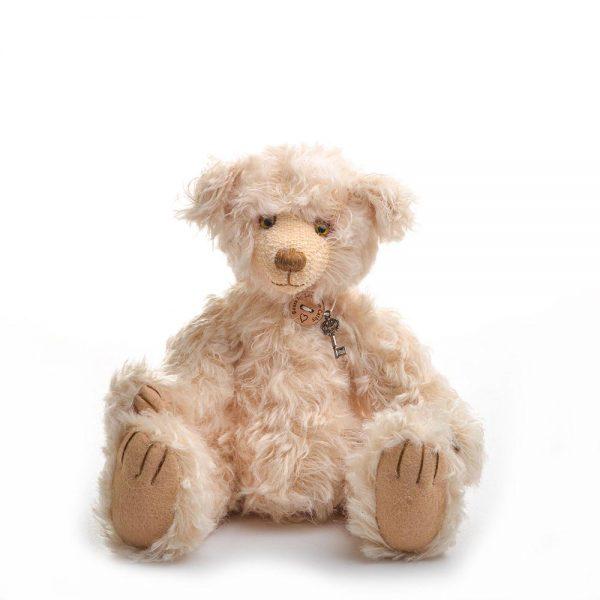 blond handmade teddy bear, medium sized stuffed animal, family heirloom, stuffed bear collectible, nc fiber artist