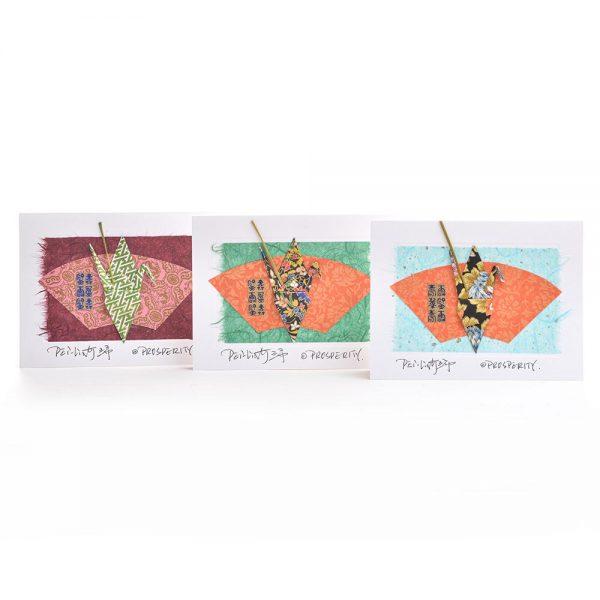 paper crane notecare, prosperity card, handmade note card, nc paper artist, origami artist