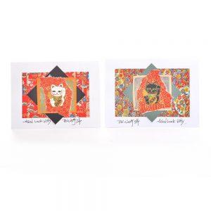 good luck note card, oriental cat card, handmade origami art