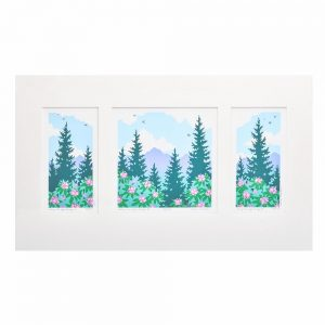 colorful print of mountains and rhododendron, western north carolina view, mountain souvenir, debbie littledeer print, blue ridge parkway decor, folk art center