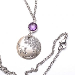 dreaming tree necklace, dreaming tree book jewelry, girls swinging under a tree on silver pendant with purple stone
