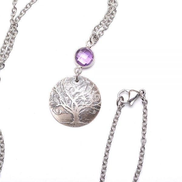 purple stone with tree pendant, swirly tree necklace with amethyst