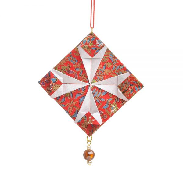 red paper quilt origami ornament, ornament for quilters, sewer ornament,