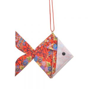goldfish paper origami ornament, good fortune chinese symbol, nc paper artist, red floral paper with gold accents folded fish