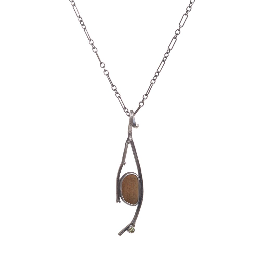 river rock and peridot necklace, silver twig and stone jewelry, nature necklace, jason janow, maker of the month, folk art center, online exhibition