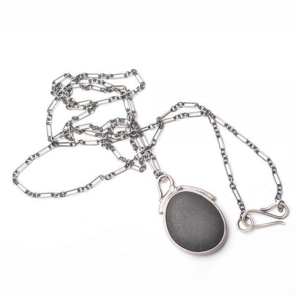 black river rock silver necklace