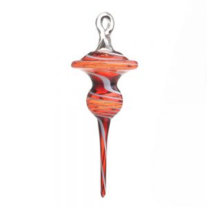 handmade glass ornament, red lampworked glass ornament, asheville glass blowing, jason probstein, chihuly glass, folk art center