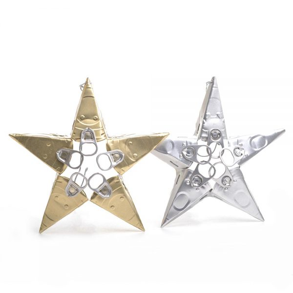chritmas star ornament, cat food art, gold and silver star ornaments made with the lids of cat food