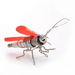 mixed media art, repurposed spark plugs, bug sculpture