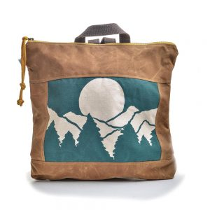 mountain backpack, handmade canvas bag, rachel elise bags, folk art center, teal and brown bag