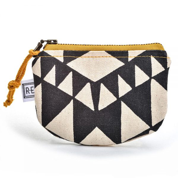 black and white coin purse, handprinted canvas bag, gifts under d$50