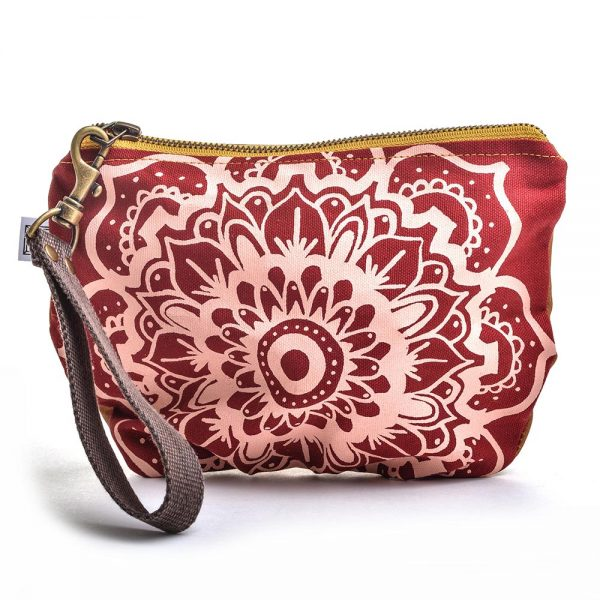 red handmade hand printed clutch with carry strap, waxed linen wristlet, vegan bag,