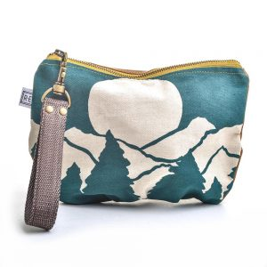 mountain clutch, vegan purse, hand printed mountain scene on waxed canvas, teal wristlet