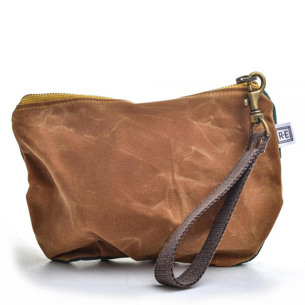 back view of waxed linen wristlet, rachel elise bags