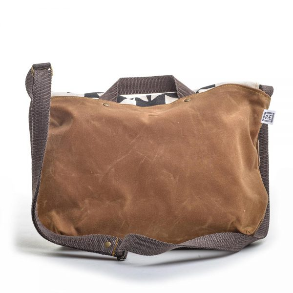 back view of waxed canvas messenger bag