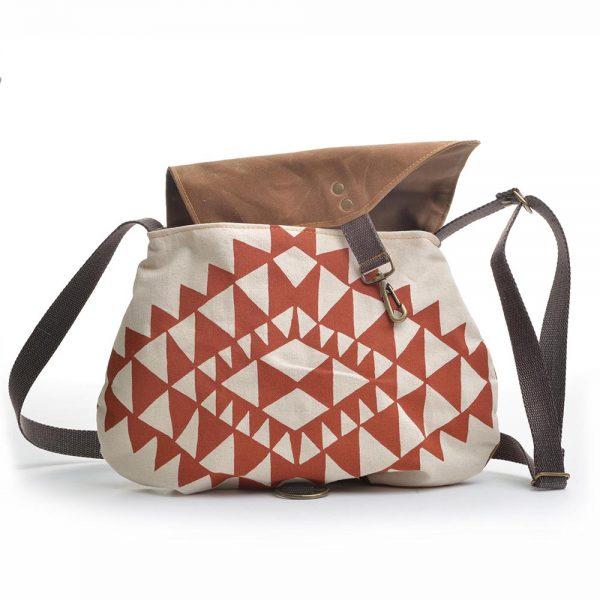 handprinted waxed canvas purse, crossbody bag