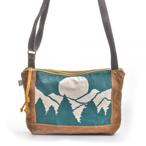 teal mountain canvas bag, vegan canvas bag, handmade printed bag, elementality bag, rachel elise bags, folk art center