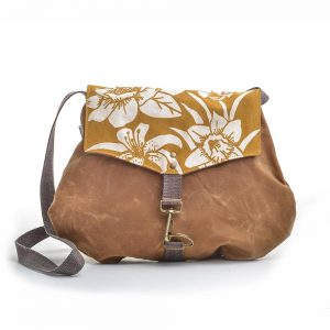 mustard daffodil waxed canvas shoulder bag, rachel elise bags, elementality asheville, vegan bags