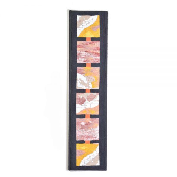 framed handmade tapestry, pink camo long tapestry, folk art center, asehville fiber artist