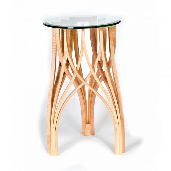 small side table, handcrafted one-of-a-kind accent table, ornate wood furniture