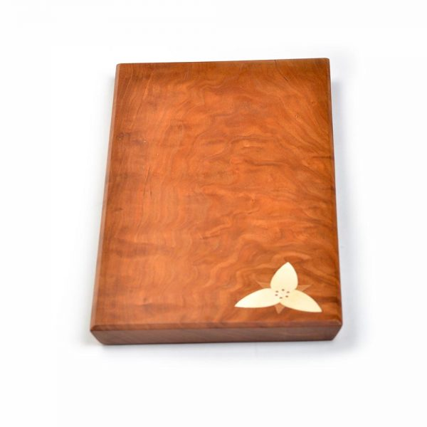 wooden rectangle serving board with trillium flower detail, folk art center, southern craft, nc wood art