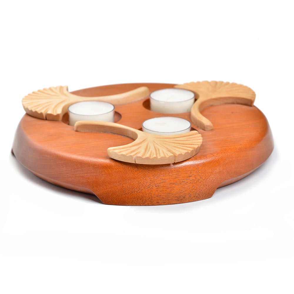gingko round tealight holder, zen centerpiece, gingko room decor