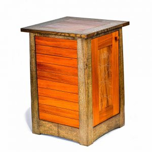 side view of handmade wooden cabinet, dark wood corners with brighter door, nc woodworker, handmade furniture