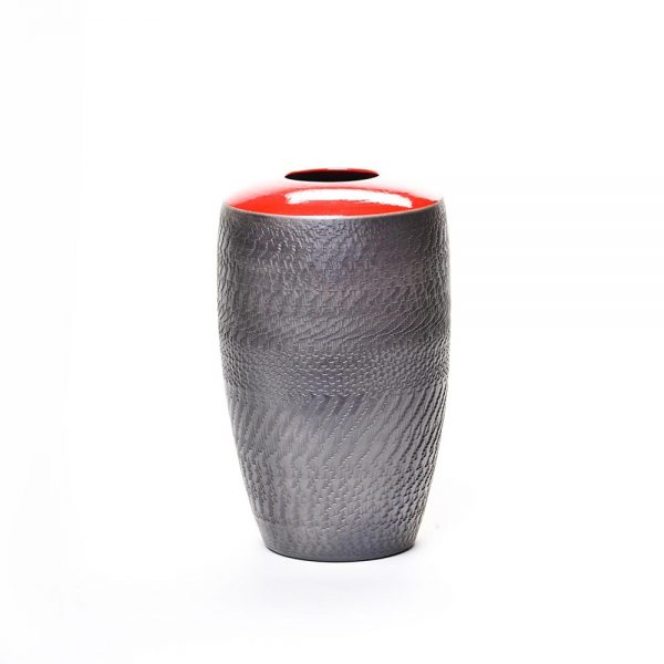 red and black raku vase, nc raku, north carolina raku