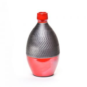 black and red raku bottle, handmade raku pottery, nc pottery