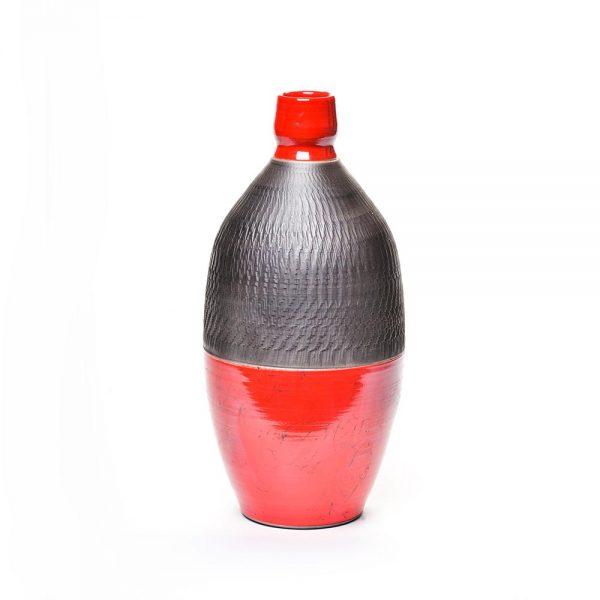 black and red raku bottle, mantle art, nc potter, folk art centger